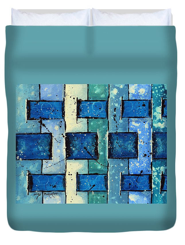 Split Weave Duvet Cover featuring the painting Split Weave by James Pinkerton