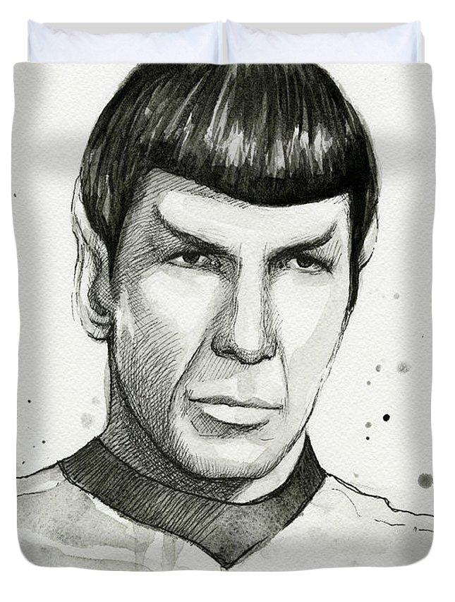 Star Trek Duvet Cover featuring the painting Spock Watercolor Portrait by Olga Shvartsur