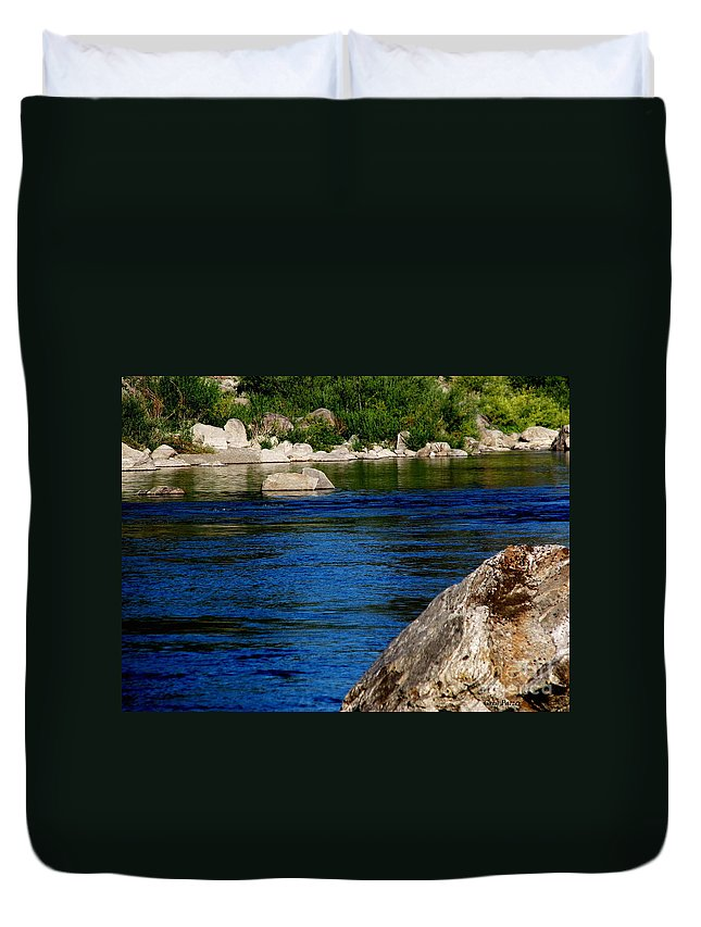 Patzer Duvet Cover featuring the photograph Spokane River by Greg Patzer