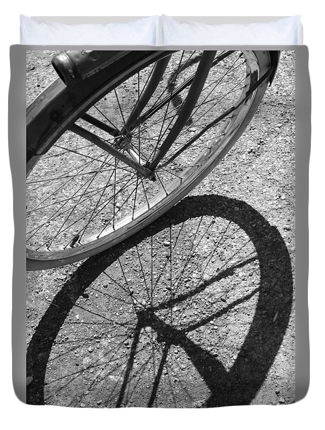 Bike Duvet Cover featuring the photograph Spoke Shadows by Lauri Novak