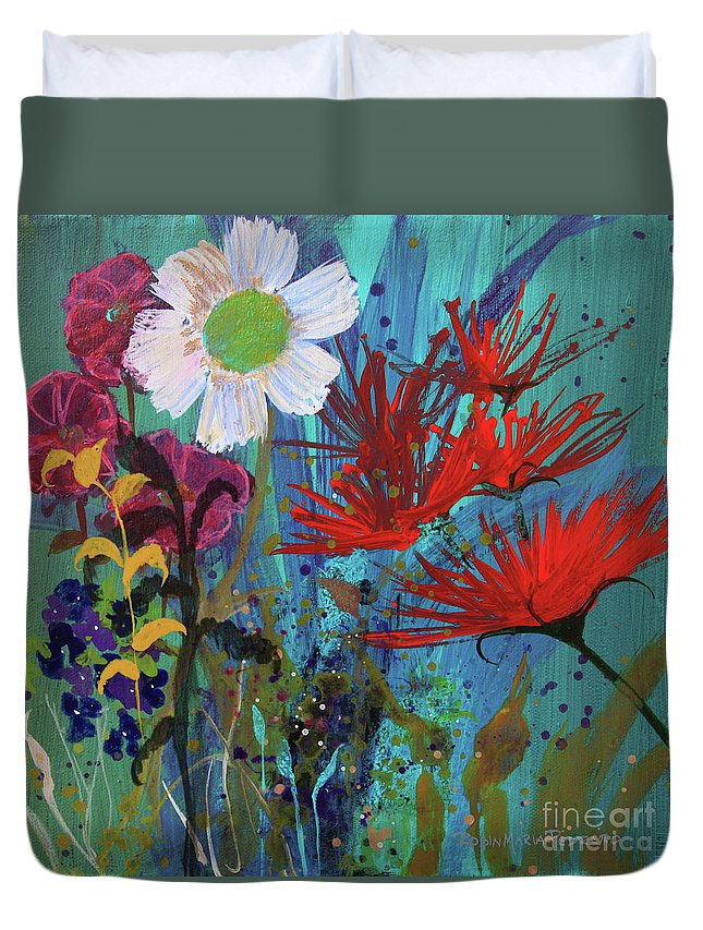 Rose Duvet Cover featuring the painting Spontaneity by Robin Maria Pedrero