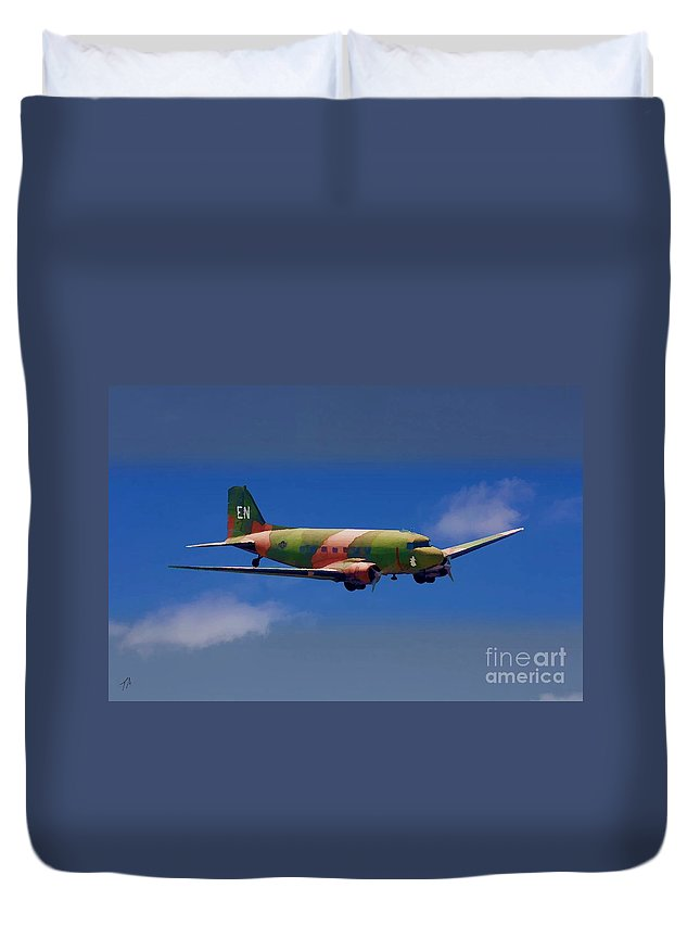 Douglas Duvet Cover featuring the digital art Spooky Douglas Ac-47 by Tommy Anderson