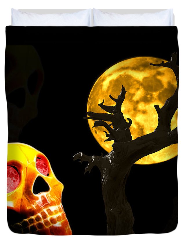 Skull Duvet Cover featuring the photograph Spooky Night by Shane Bechler
