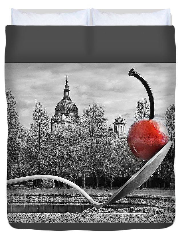 Minneapolis Duvet Cover featuring the photograph Spoon And Cherry by Irma Robin