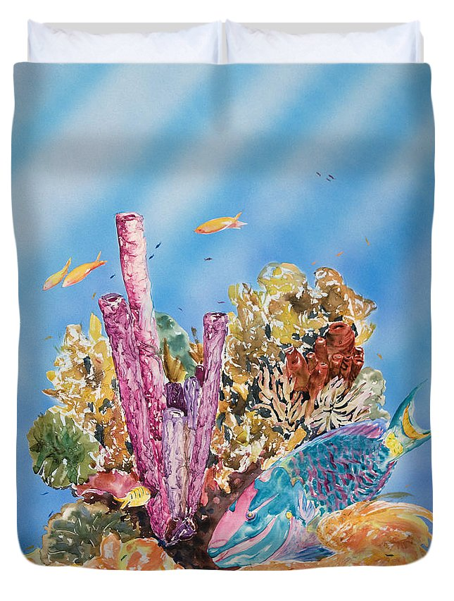 Animal Art Duvet Cover featuring the painting Spotlight Parrotfish by Tanya L Haynes - Printscapes