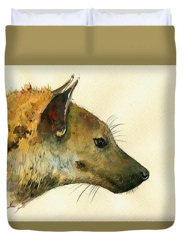 Hyena Animal Duvet Cover featuring the painting Spotted Hyena Animal Art by Juan Bosco