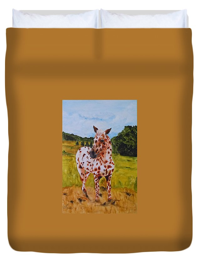 Horse Duvet Cover featuring the painting Spotted in Hawaii by Jean Blackmer