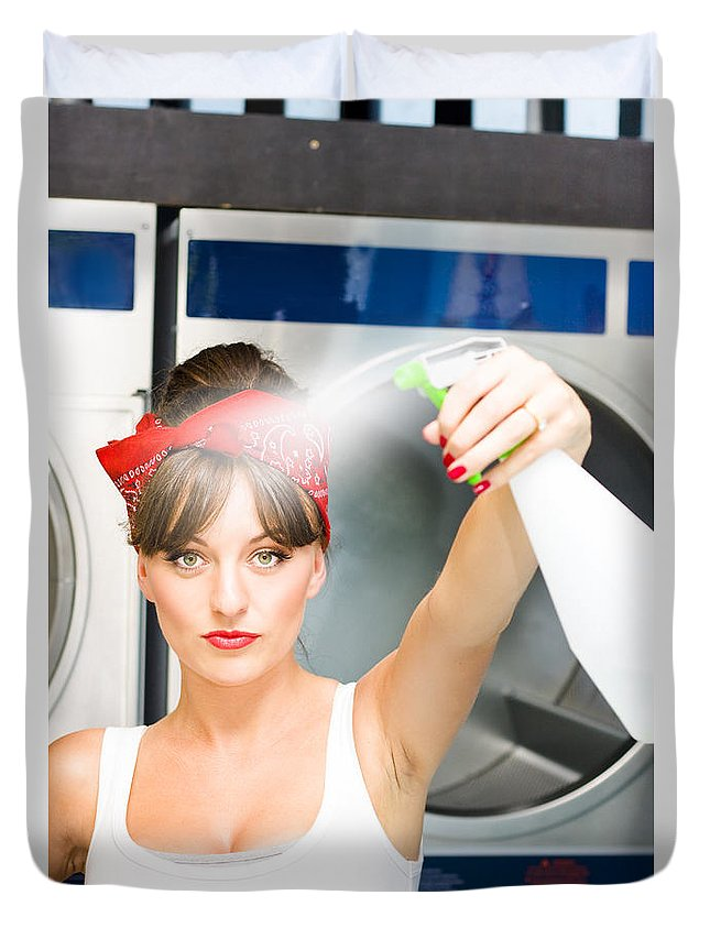 Sprayer Duvet Cover featuring the photograph Spray Bottle Cleaner by Jorgo Photography - Wall Art Gallery