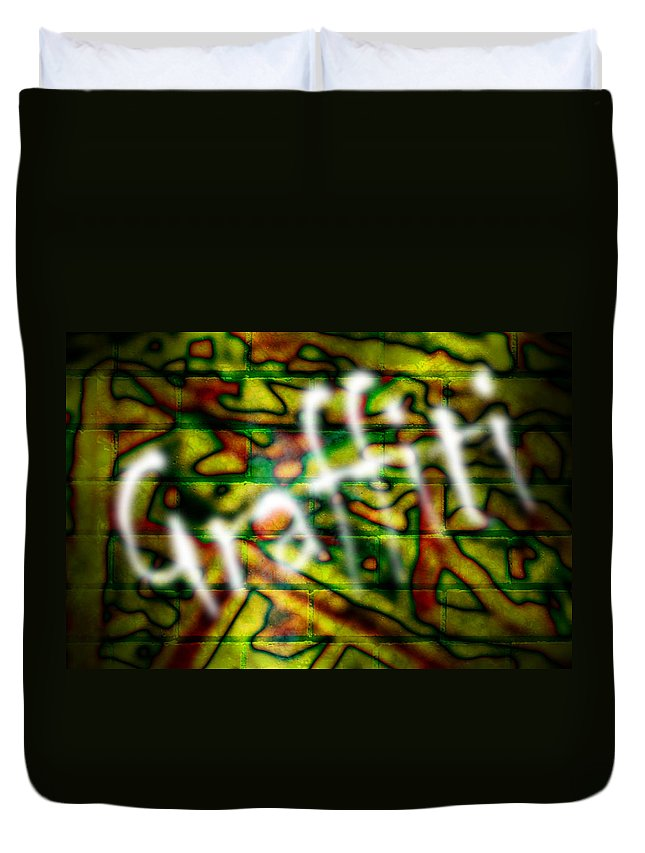 Graffiti Duvet Cover featuring the photograph Spray Painted Graffiti by Phill Petrovic
