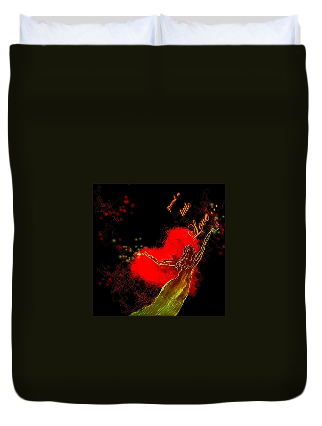 Love Duvet Cover featuring the painting Spread A Little Love by Miki De Goodaboom