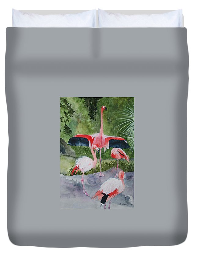 Wings Duvet Cover featuring the painting Spreading My Wings by Jean Blackmer