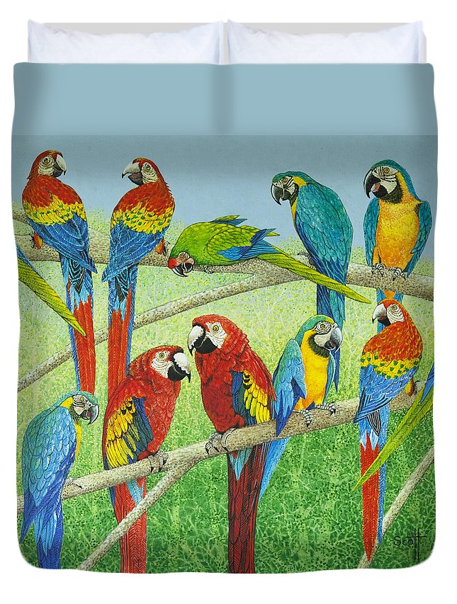 Parrot Duvet Cover featuring the painting Spreading The News by Pat Scott