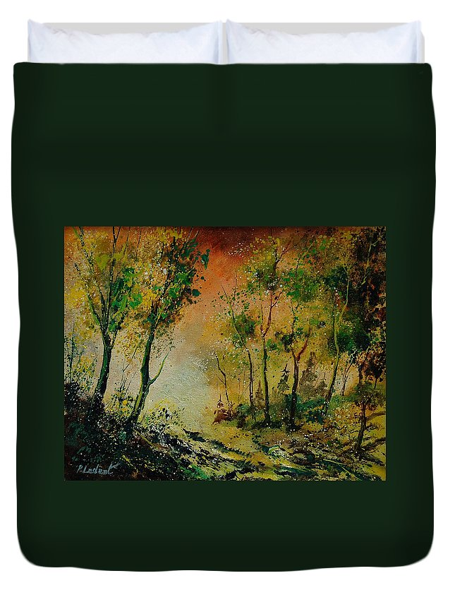 Spring Duvet Cover featuring the painting Sprin In Wood 45 by Pol Ledent