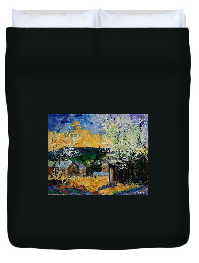 Spring Duvet Cover featuring the painting Spring 45 by Pol Ledent