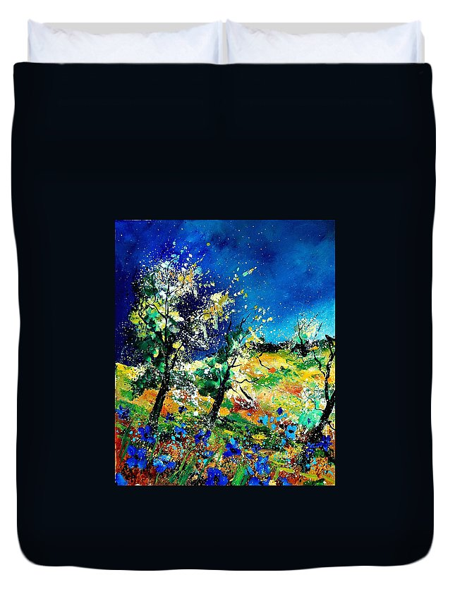 Tree Duvet Cover featuring the painting Spring 56 by Pol Ledent
