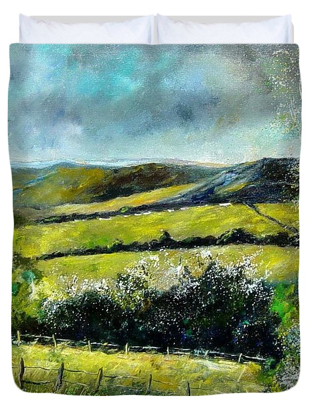 Landscape Duvet Cover featuring the print Spring 79 by Pol Ledent