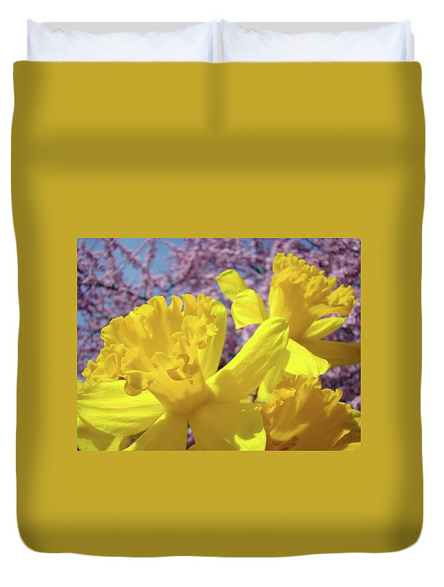 Flowers Duvet Cover featuring the photograph Spring Art Prints Yellow Daffodils Flowers Pink Blossoms Baslee Troutman by Baslee Troutman