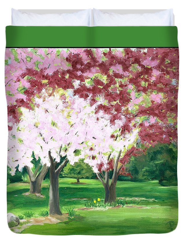 Spring Duvet Cover featuring the painting Spring At Osage Land Trust by Paula Emery