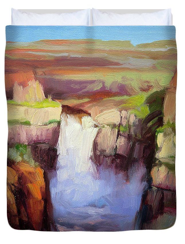 Waterfall Duvet Cover featuring the painting Spring At Palouse Falls by Steve Henderson