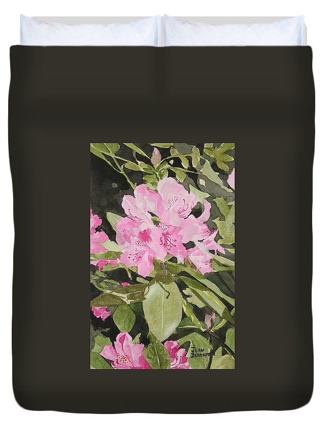 Flowers Duvet Cover featuring the painting Spring At The Cabin by Jean Blackmer