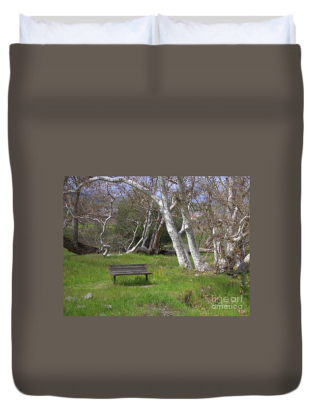 Bench Duvet Cover featuring the photograph Spring Bench In Sycamore Grove Park by Carol Groenen
