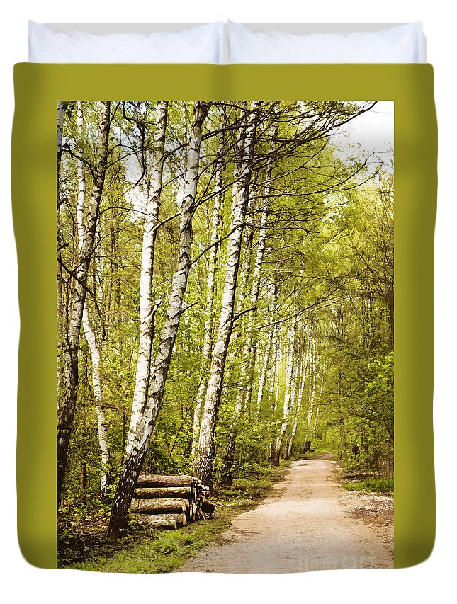 Forest Duvet Cover featuring the photograph Spring Birches Woods Footpath by Arletta Cwalina