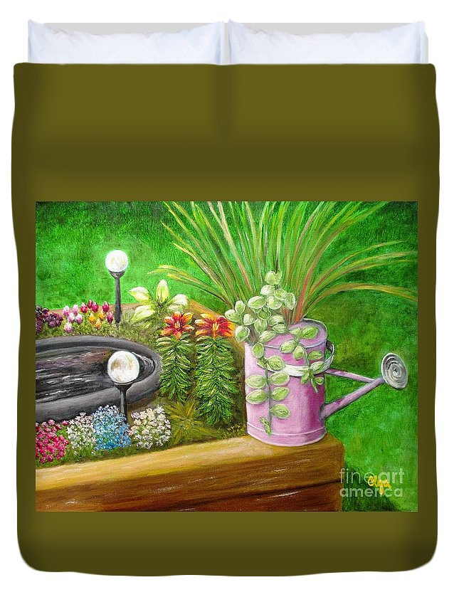Flowers Duvet Cover featuring the painting Spring Blooms by Olga Silverman
