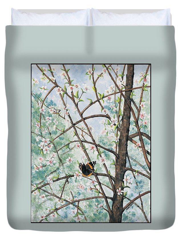 Butterfly Duvet Cover featuring the painting Spring Blossom by Mary Tuomi