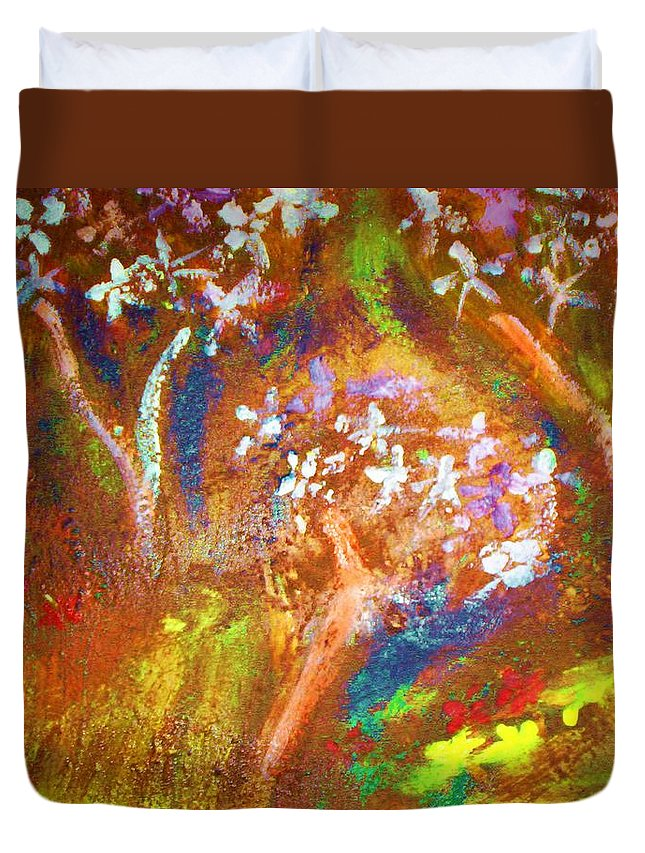 Flowers Duvet Cover featuring the painting Spring Blossom by Winsome Gunning