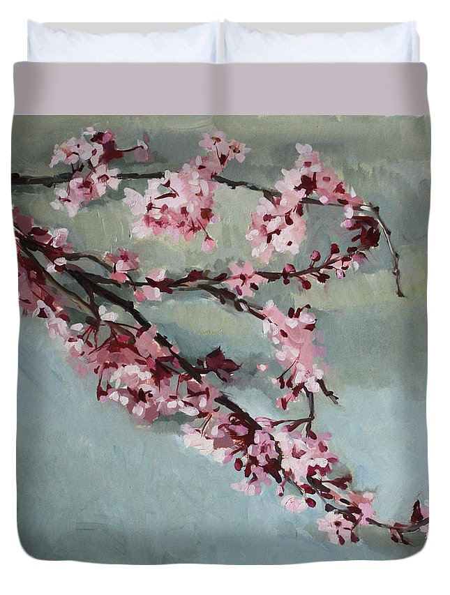 Spring Duvet Cover featuring the painting Spring Blossoms by Jenay Elder