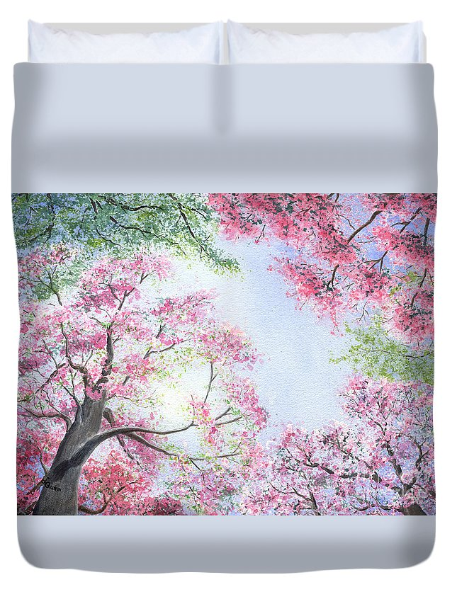 Tree Blossoms Duvet Cover featuring the painting Spring Blossoms by Lynn Quinn
