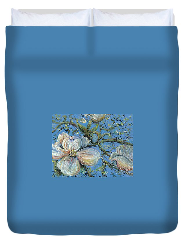 Flower Duvet Cover featuring the painting Spring Blossoms by Nadine Rippelmeyer