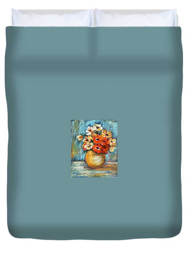 Stilllife Duvet Cover featuring the drawing Spring Bouquet by Portraits By NC