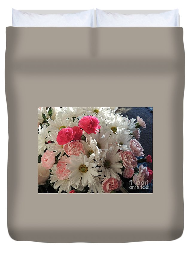 White Daisies Duvet Cover featuring the photograph Spring Bouquet by Traci Hallstrom
