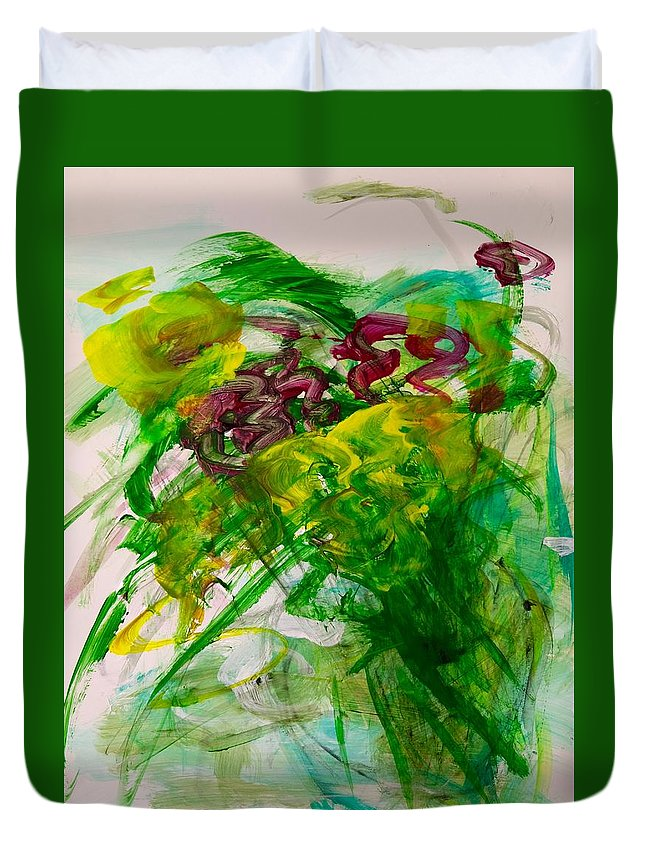 Green Duvet Cover featuring the painting Spring Bursting by Barbara Rose Brooker