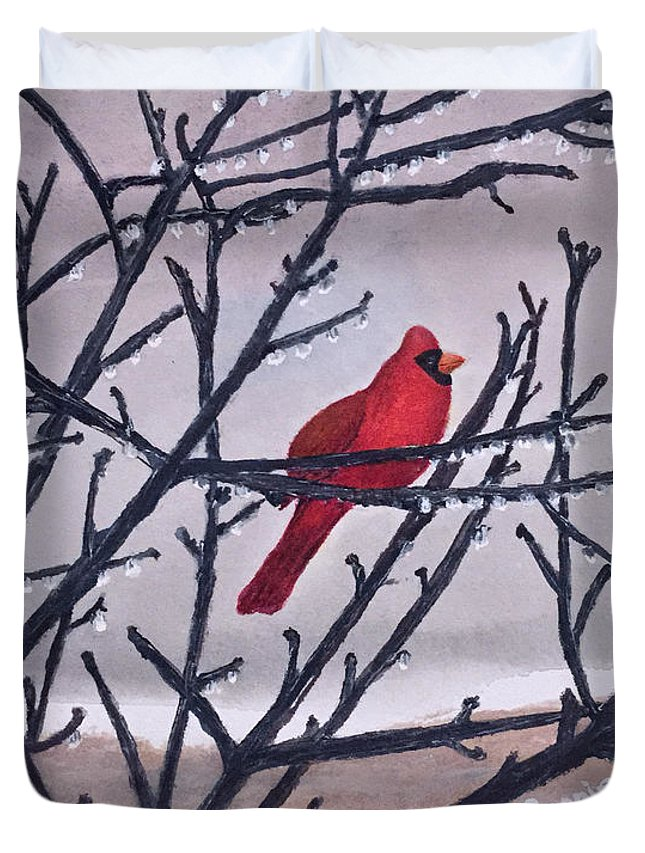 Cardinal Duvet Cover featuring the painting Spring Cardinal by Bonnie Young