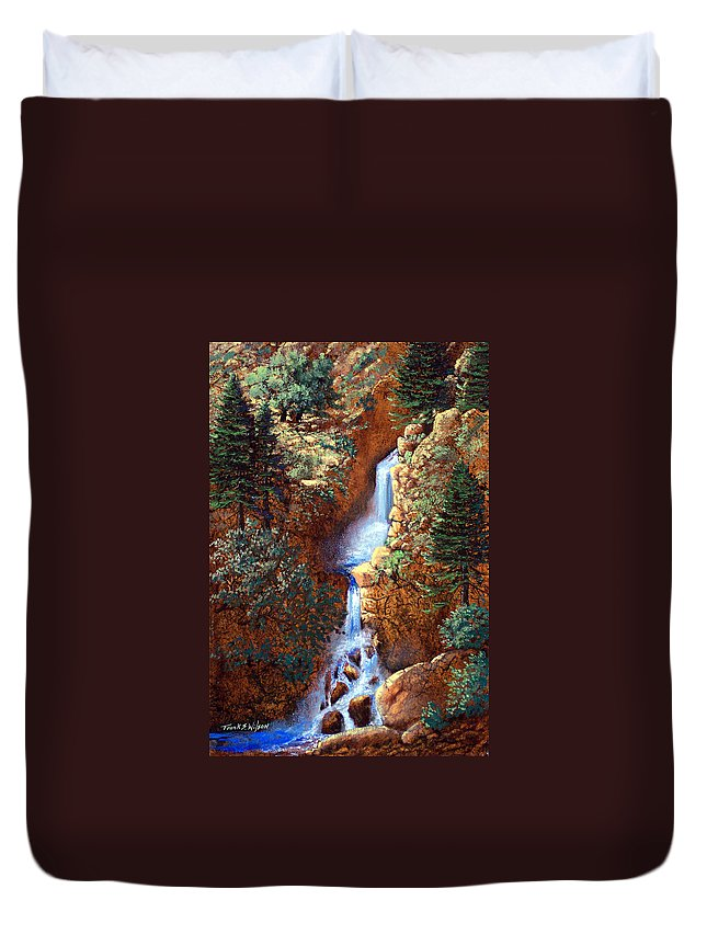 Wilderness Duvet Cover featuring the painting Spring Cascade by Frank Wilson