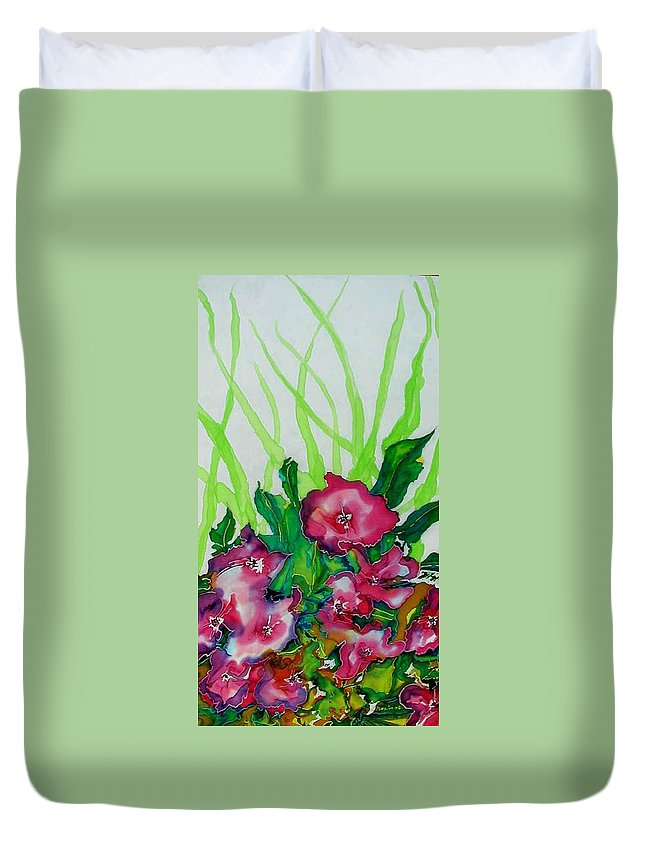 Flora Duvet Cover featuring the painting Spring Celebration 1 by Ferril Nawir