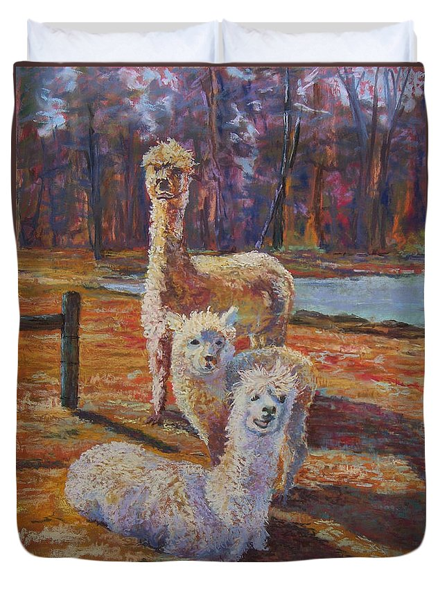 Alpaca Duvet Cover featuring the pastel Spring Celebration - Mothers And Child by Alicia Drakiotes