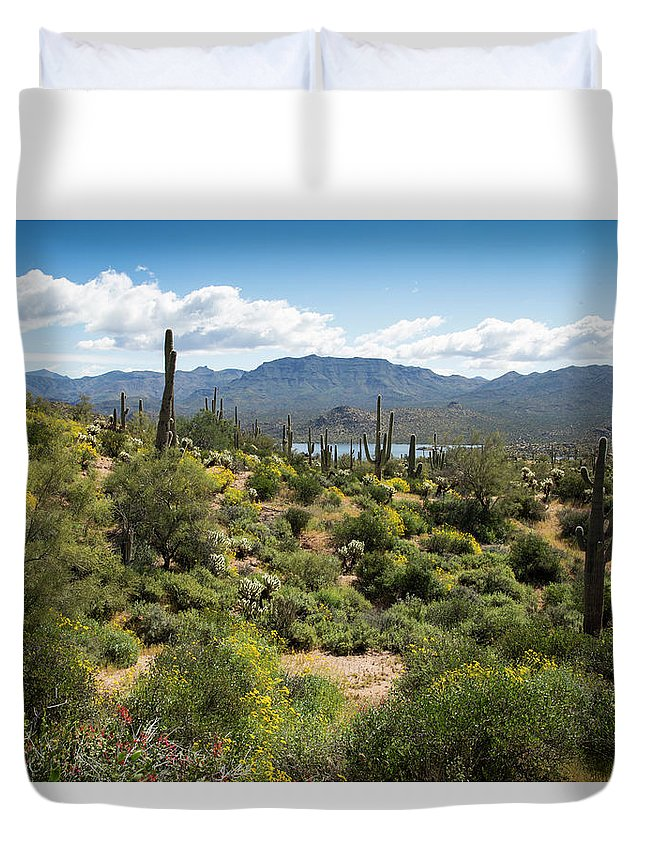Arizona Duvet Cover featuring the photograph Spring Color In The Desert by Cathy Franklin