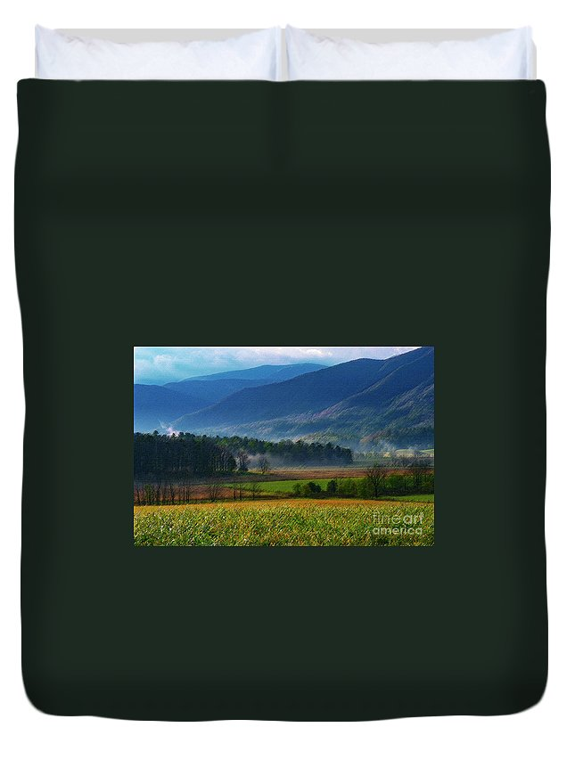 Cades Cove Duvet Cover featuring the photograph Spring Colors In Caves Cove by Bob Phillips