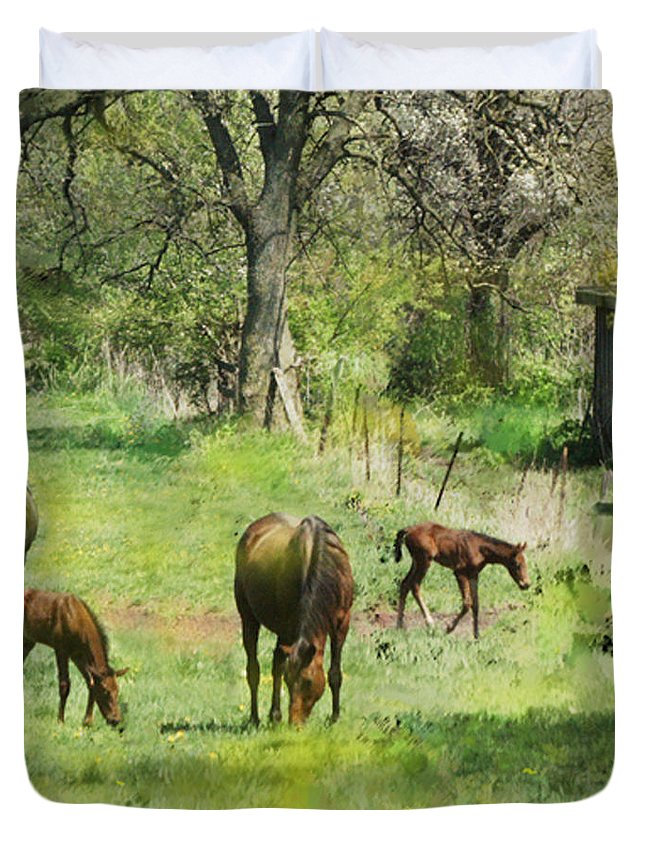 Horses Duvet Cover featuring the digital art Spring Colts - Square Version by John Robert Beck