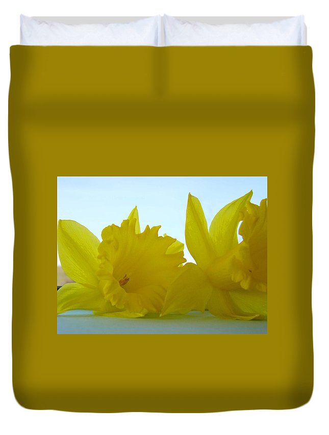 �daffodils Artwork� Duvet Cover featuring the photograph Spring Daffodils Flowers Art Prints Blue Skies by Baslee Troutman