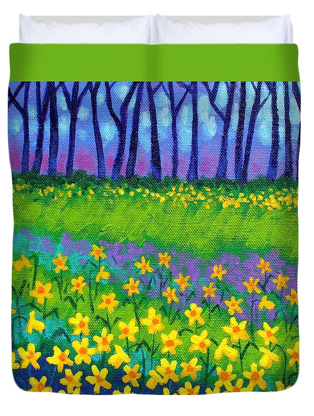 Daffodils Duvet Cover featuring the painting Spring Daffodils by John Nolan