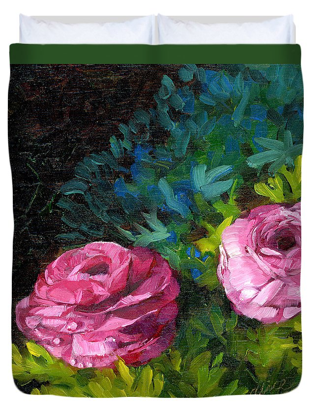 Camellia Duvet Cover featuring the painting Spring Dewdrops by Alice Leggett