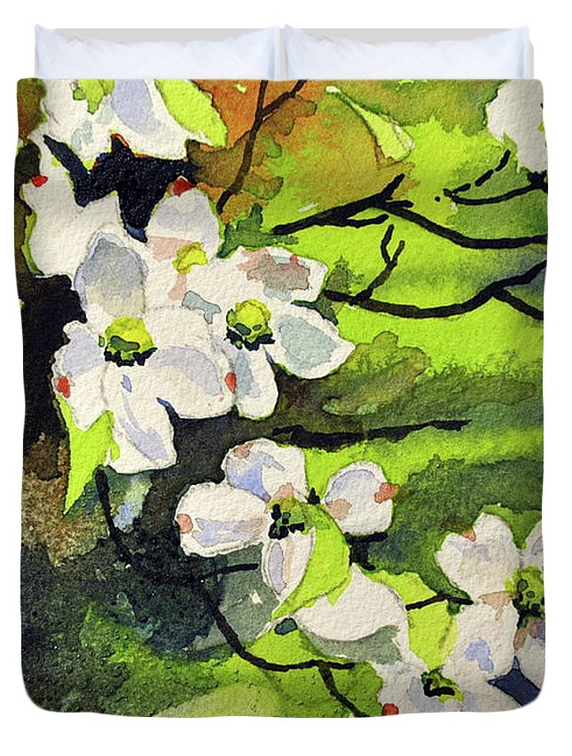 Dogwood Duvet Cover featuring the painting Spring Dogwoods by Spencer Meagher