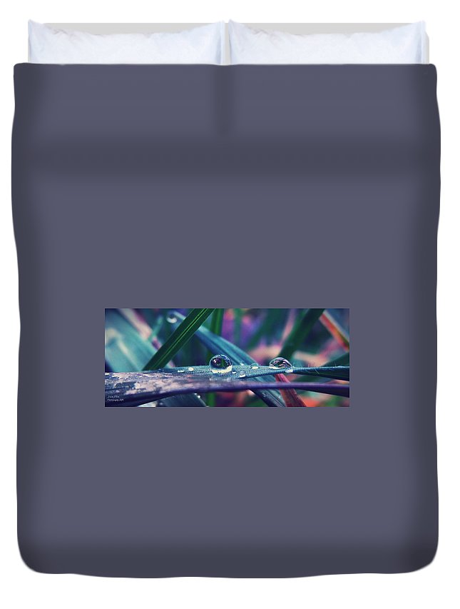 Droplets Duvet Cover featuring the photograph Spring Droplet by Devin Dixon