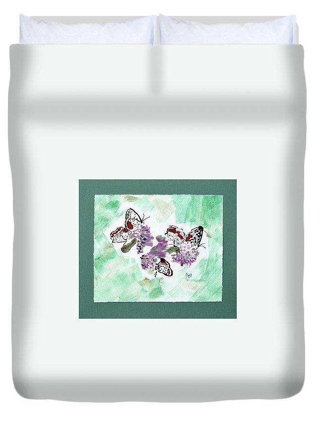 Spring Duvet Cover featuring the mixed media Spring Fever by Cori Solomon