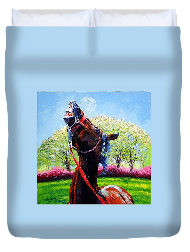 Horse Duvet Cover featuring the painting Spring Fever by John Lautermilch