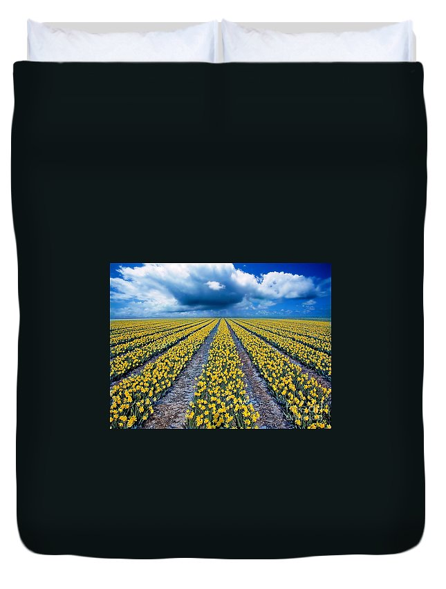 Flowers Duvet Cover featuring the photograph Spring Fields by Jacky Gerritsen